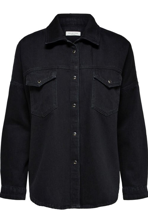 Selected Femme Ally Black Denim Shirt