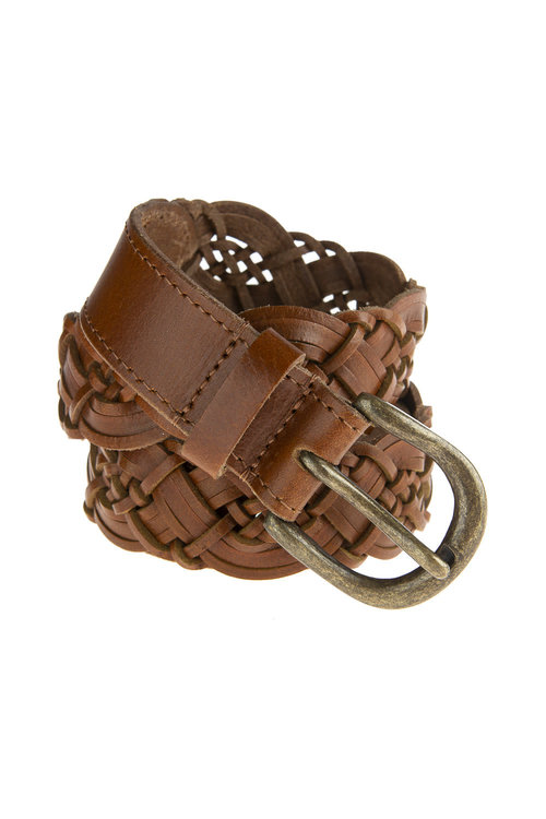 By Bar Braided Leather Belt