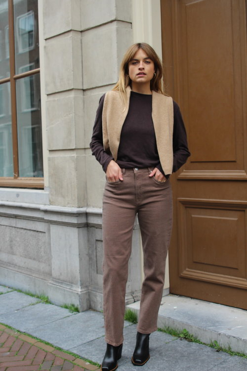 Selected Femme Mary Straight Camel Pants