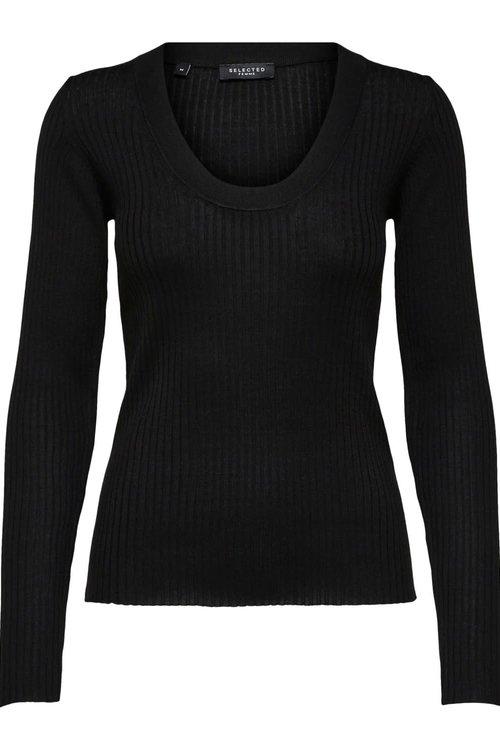 Selected Femme Costa Knit Deep u-neck