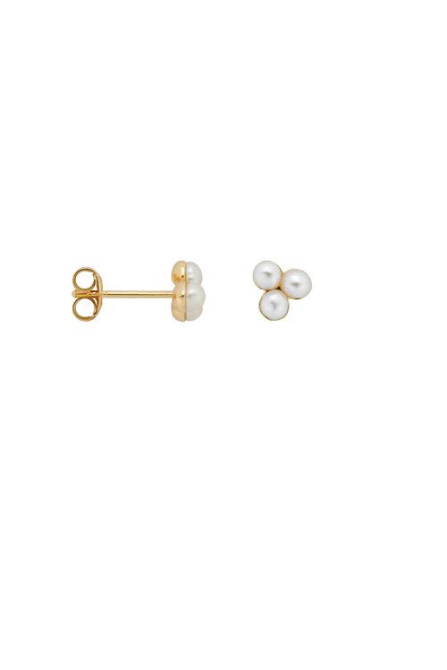 Anna+Nina Single Triple Pearl Stud Earring