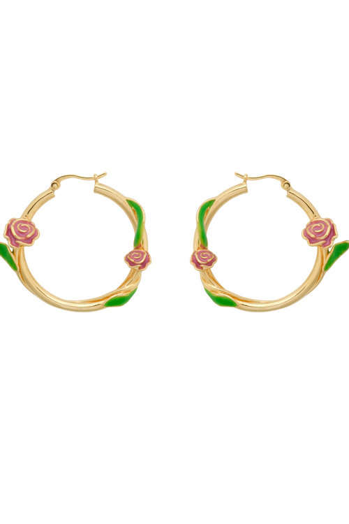 Anna+Nina Tangled Rose Hoop Earrings