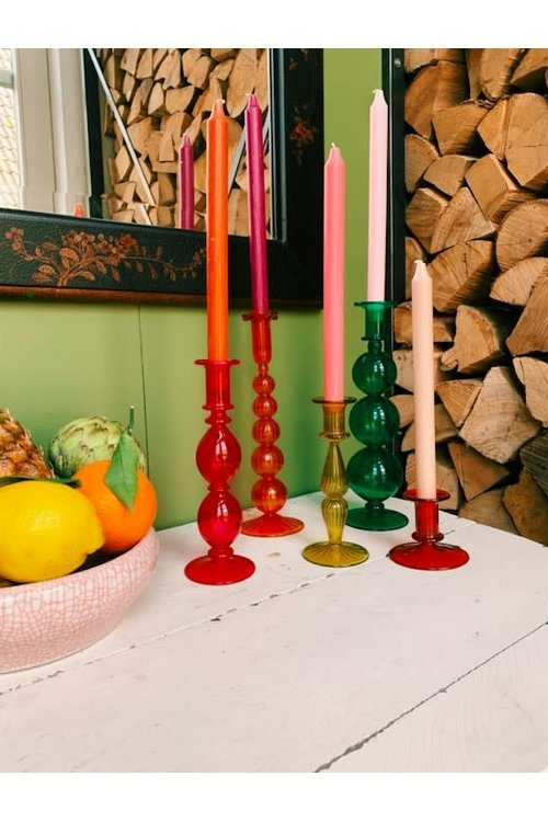 Anna+Nina Rodeo Red Glass Candle Holder