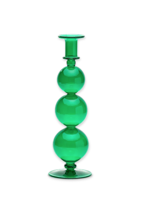 Anna+Nina Country Green Glass Candle Holder