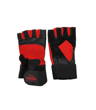 Legend Sports Fitness handschoenen leder zwart/rood Legend