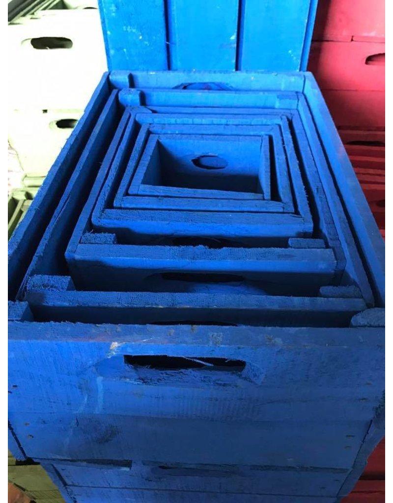 Damn Set van 3 kleine kisten kobaltblauw