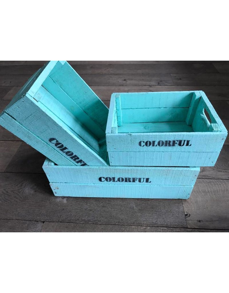 Damn Set of 3 large crates turquoise