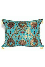esperanza-deseo Flowers turquoise kussenhoes/cushion cover ± 50x70cm