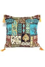 esperanza-deseo Patchwork brown kussenhoes/cushion cover ± 45x45cm