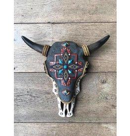 Damn Skull bewerkt jeanskleur 30 x 32 cm