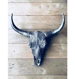 Damn Skull bedrukt groot 64 cm zilver