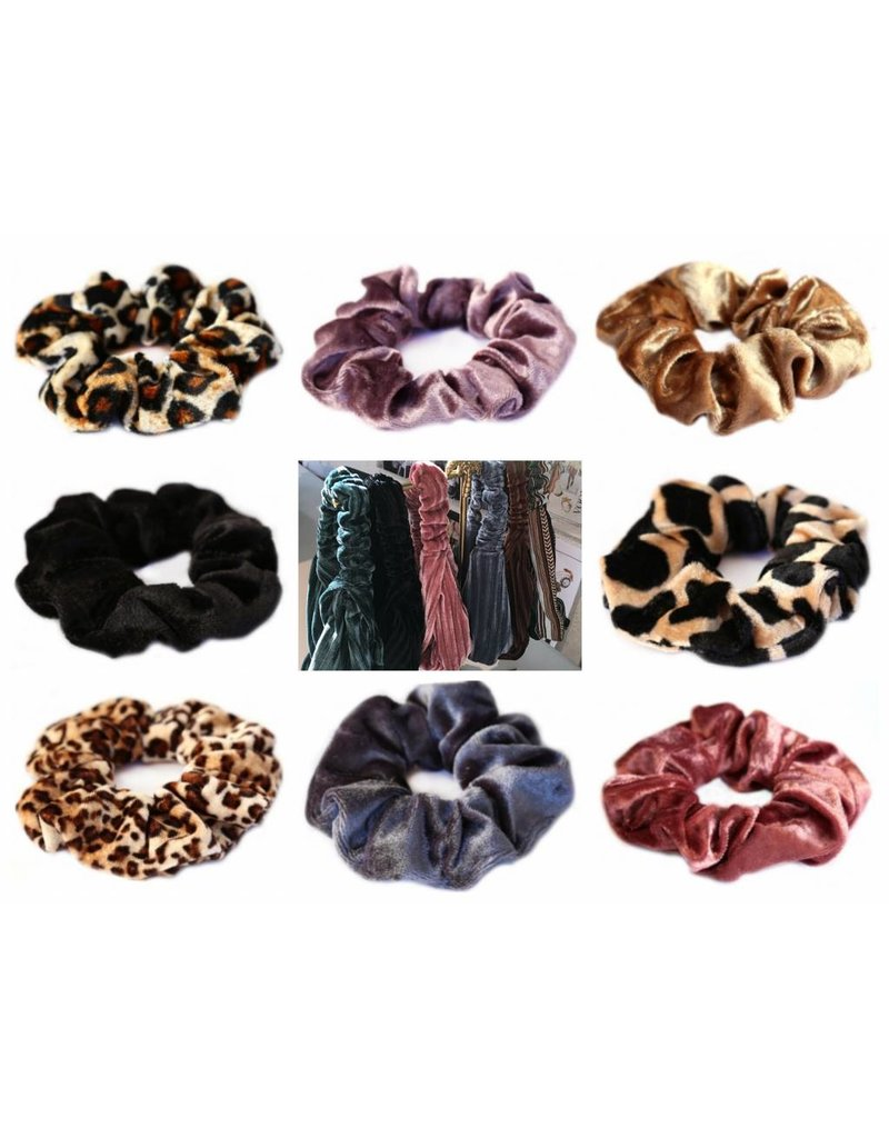 Love Ibiza Cotton scrunchie leopard dark brown