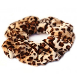 Love Ibiza Velvet scrunchie leopard brown