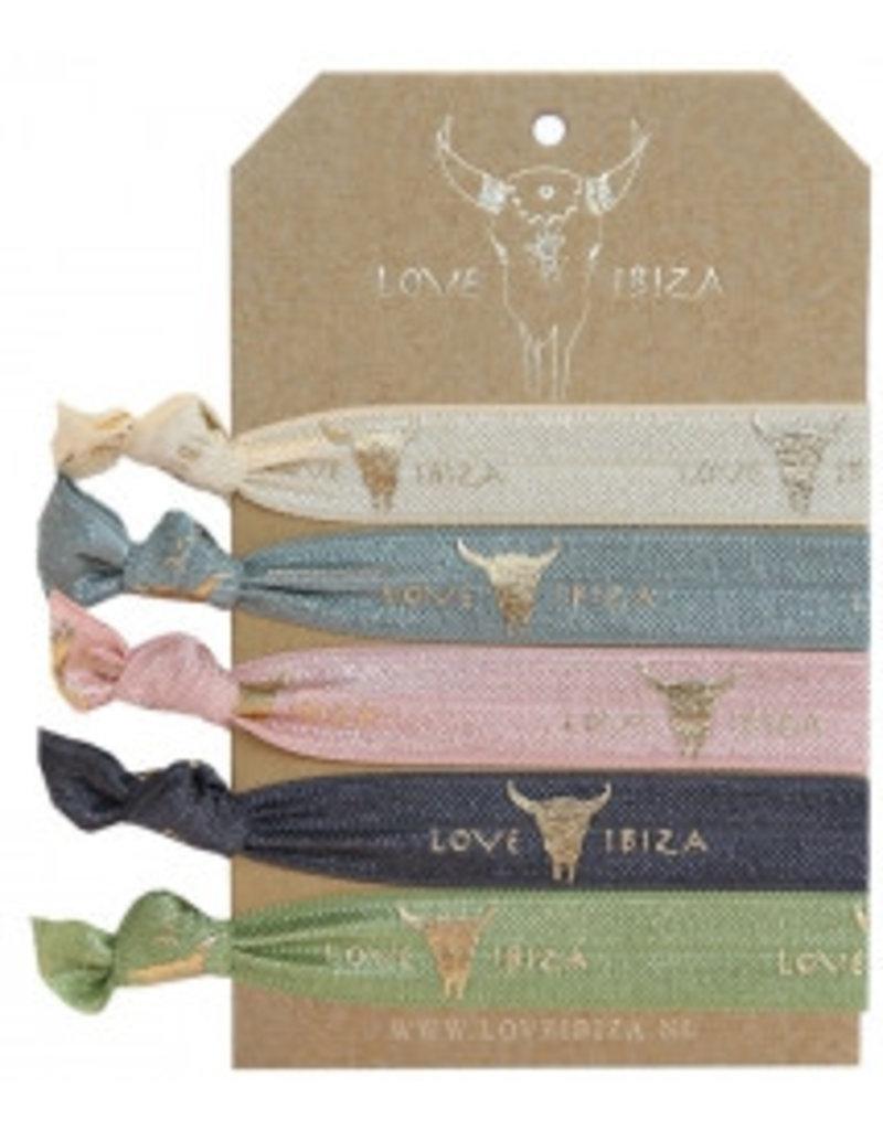Love Ibiza Love ibiza set van 5 haarelastiekjes/armbandjes