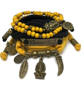 esperanza-deseo Set Ganesha - Namaste black and ocher (yellow)