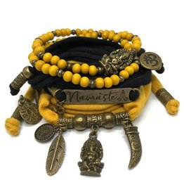 esperanza-deseo Set Ganesha - Namaste black and oker (yellow)