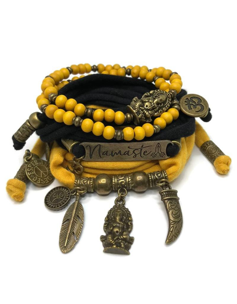 esperanza-deseo Set Ganesha - Namaste black and ocher (yellow)