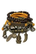 esperanza-deseo Set Ganesha - Namaste animal print and orange