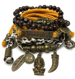 esperanza-deseo Set Ganesha - Namaste black and ocher (yellow) - Copy