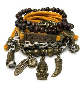 esperanza-deseo Set Ganesha - Namaste animal print and oker (yellow)