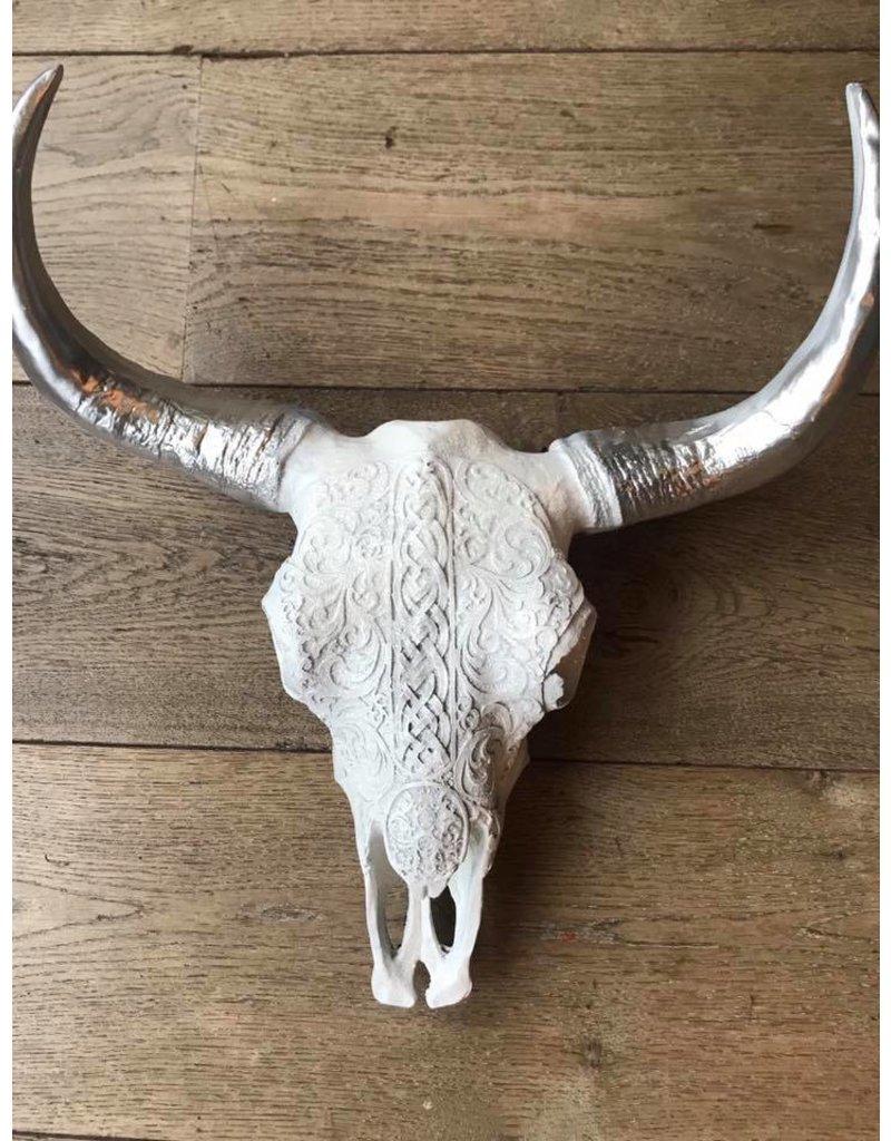 Damn Skull 40 cm wit glitter