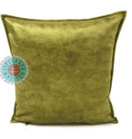 esperanza-deseo Velvet kussen limegroen  bruin 45 x 45 cm