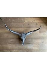 Damn Longhoorn gegraveerd 1 meter breed zilver