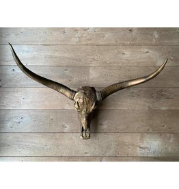 Damn Longhoorn gegraveerd 1 meter breed brons