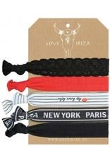 Love Ibiza New York Paris van 5 haarelastiekjes/armbandjes