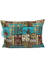 esperanza-deseo Patchwork brown kussenhoes/cushion cover ± 50x70cm