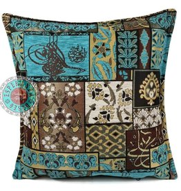 esperanza-deseo Patchwork brown kussenhoes/cushion cover ± 45x45cm