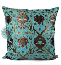 esperanza-deseo Flowers turquoise kussenhoes/cushion cover ± 70x70cm