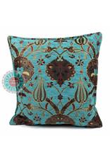 esperanza-deseo Flowers turquoise kussenhoes/cushion cover ± 45x45cm