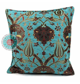 esperanza-deseo Flowers turquoise kussenhoes/cushion cover ± 45x45cm
