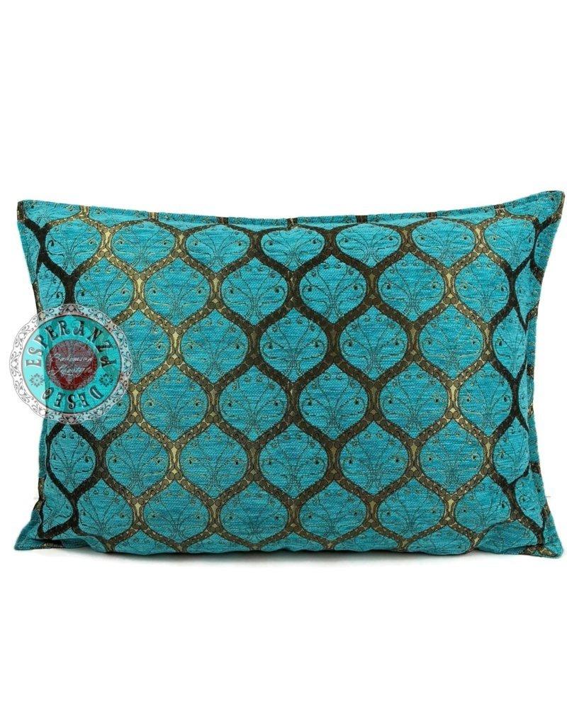 esperanza-deseo Honingraat turquoise kussenhoes/cushion cover ± 50x70cm