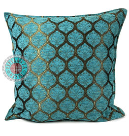 esperanza-deseo Honingraat turquoise kussenhoes/cushion cover ± 70x70cm