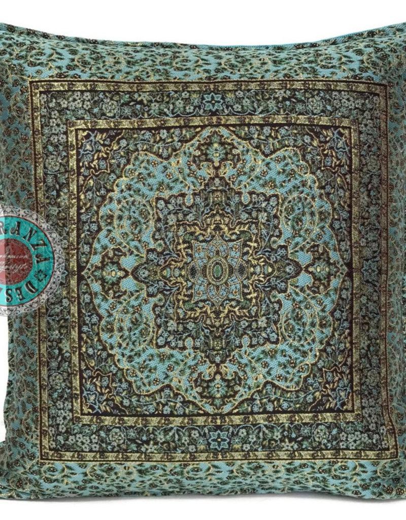 esperanza-deseo Turqoise Mandala little flower kussenhoes 45 x45