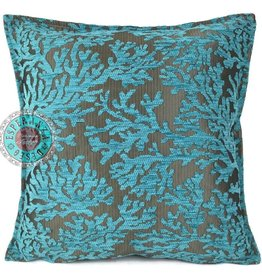 esperanza-deseo Turqoise coral kussenhoes ± 45x45cm