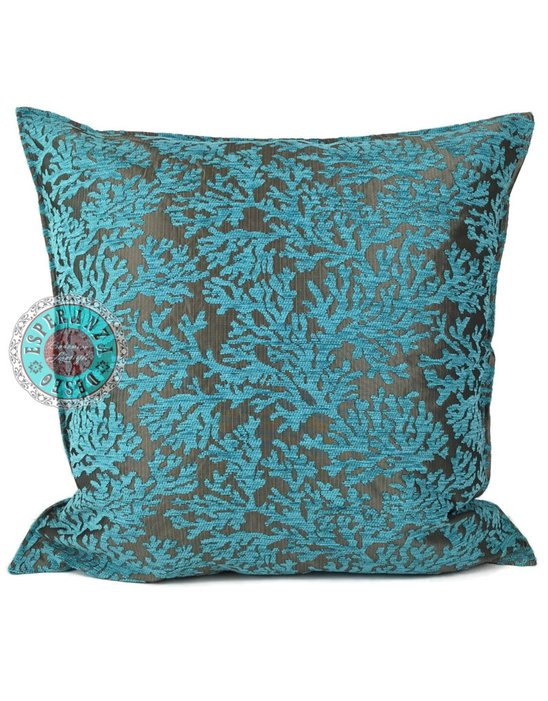 esperanza-deseo Flowers turquoise pillow case / cushion cover ± 70x70cm - Copy - Copy