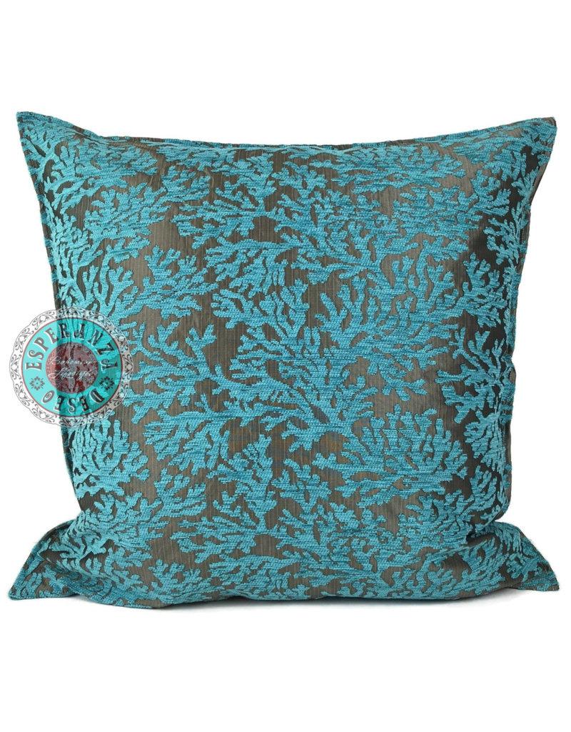 esperanza-deseo Turqoise Coral kussenhoes 70 x 70 cm