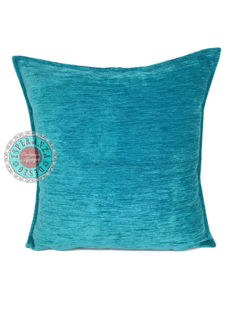 esperanza-deseo Turquoise kussenhoes/cushion cover ± 45x45cm