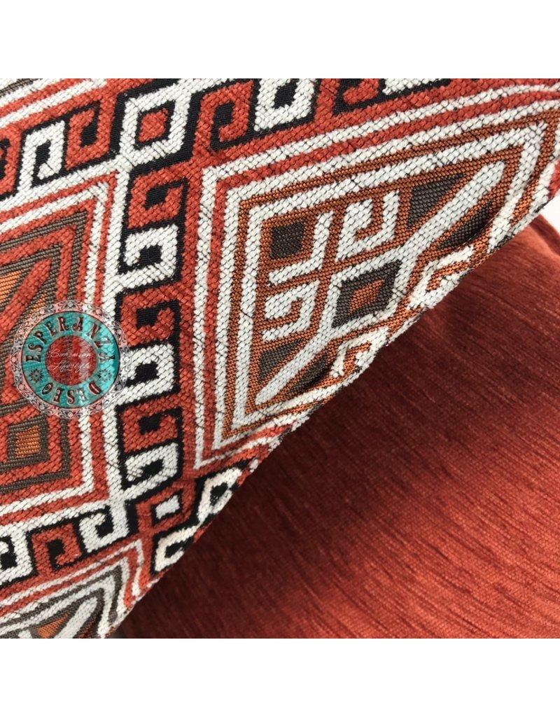 esperanza-deseo Kelim brick oranje en wit 45 x 45 cm