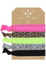 Love Ibiza Leopard set of 5 hair bows / bracelets