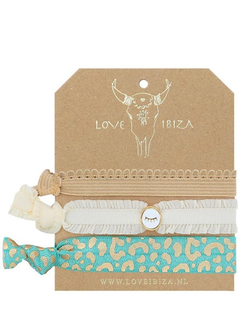 Love Ibiza Wink Set van 3  haarelastiekjes/armbandjes