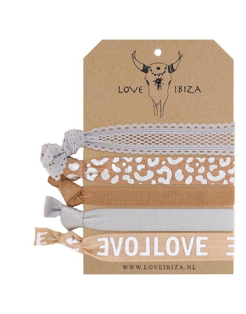 Love Ibiza Urban set van 5 haarelastiekjes/armbandjes