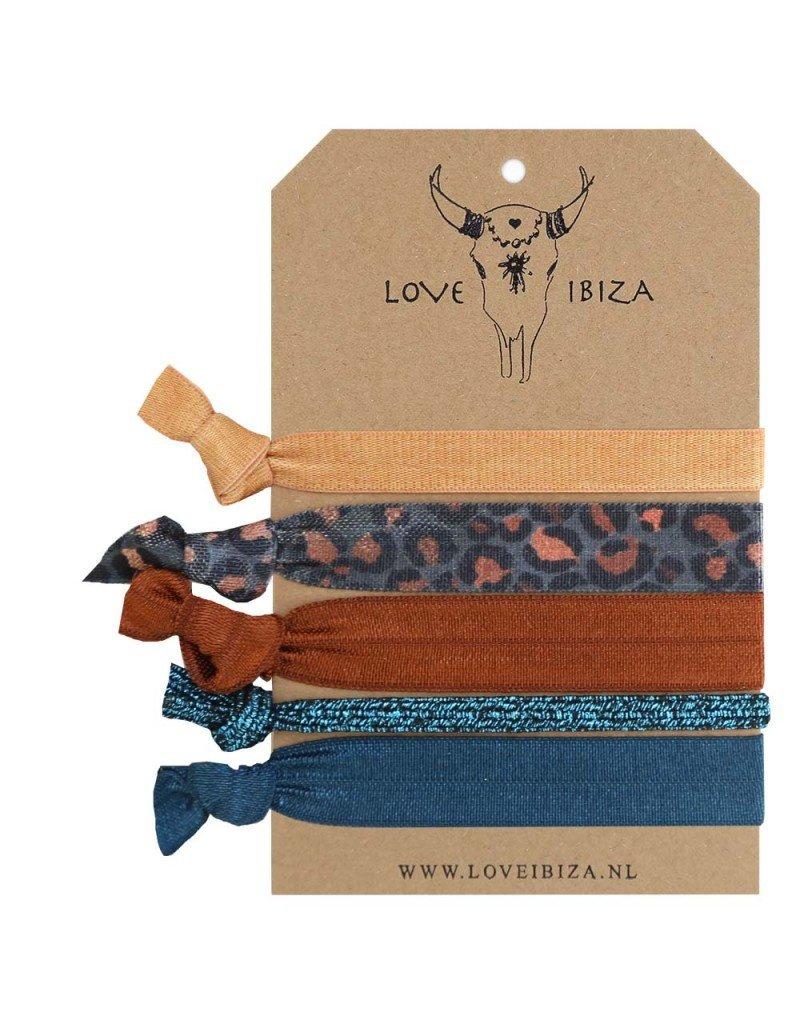 Love Ibiza Sundance  set van 5 haarelastiekjes/armbandjes