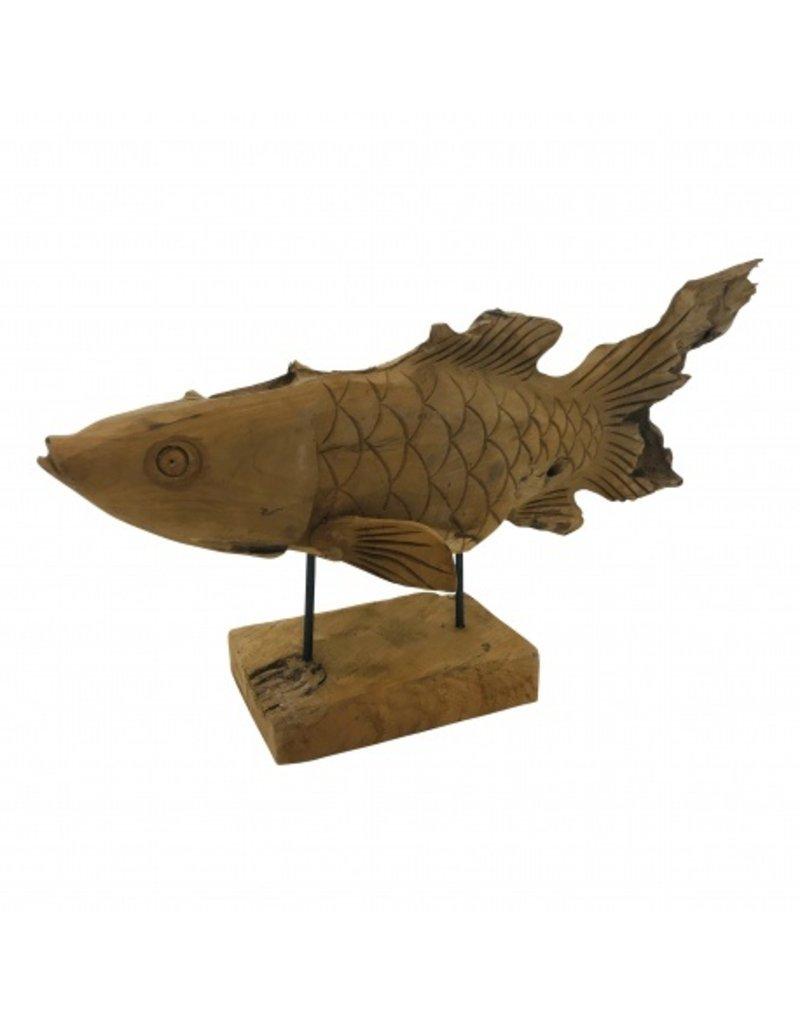 Damn Fish on stand wood 65 cm