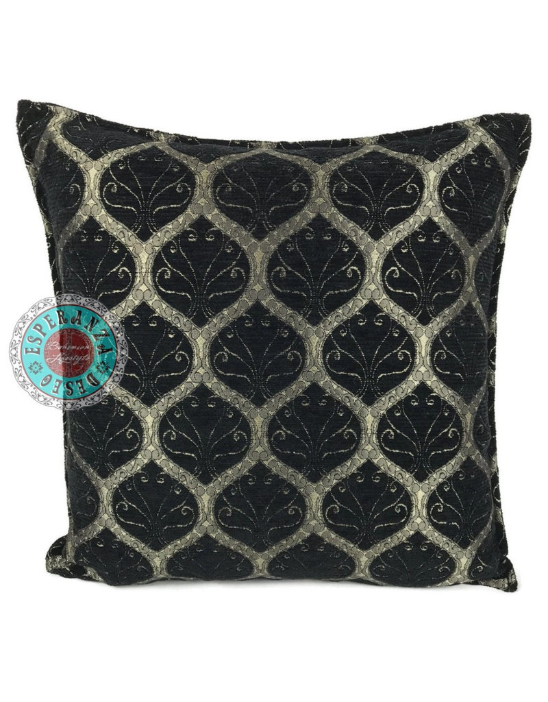 esperanza-deseo Honingraat black kussenhoes/cushion cover ± 70x70cm