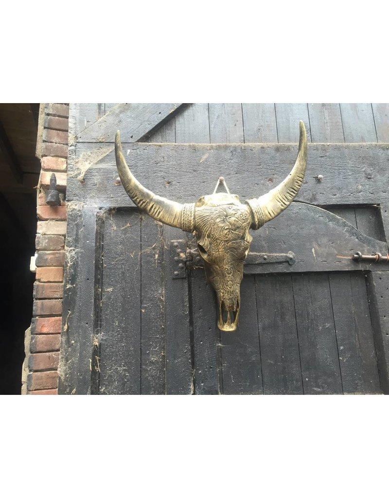 Damn Skull gegraveerd indiaan goud 68 x 80 cm