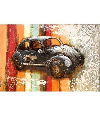 3D Art Metalen 3D schilderij - Zwarte Volkswagen Kever